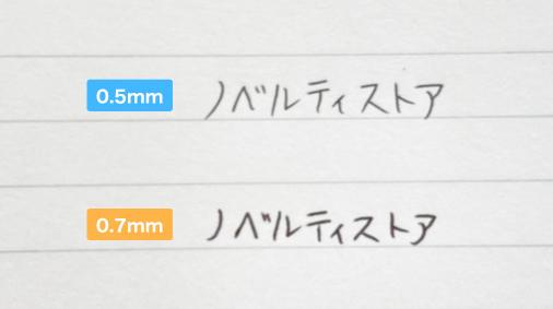 0.5mmの文字と0.7mmの文字